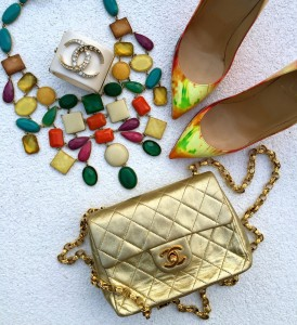 J crew statement necklace, Louboutin tye dye pumps, Chanel gold flap