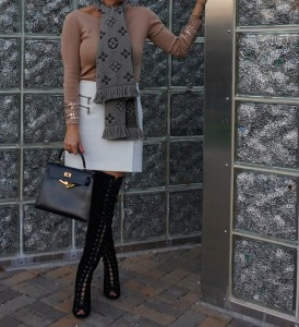 Lace up otk boots, Trouve skirt, Zara sweater