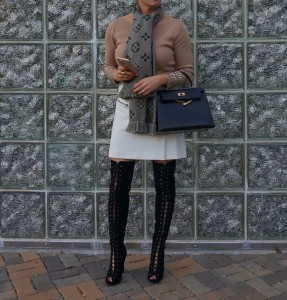 Louis vuitton logomania scarf, lace up over the knee boots