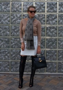 Primmadiva lace up boots, Trouve skirt, Zara crystal sweater