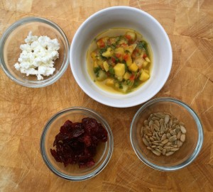 Trader Joes' pineapple mango salsa, dried cranberries, goat cheese and sunflower seeds