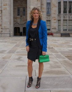 Zara faux leather skirt, Valentino lace booties