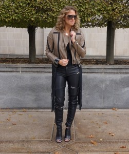 ASOS Lira jacket, Zara faux leather pants, Chanel booties