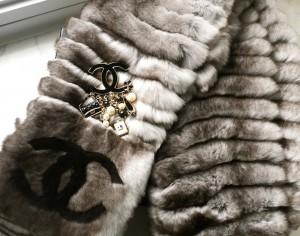 Chanel fur scarf and brooch