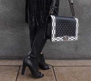 Chanel striped boy bag and chain booties