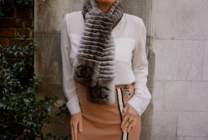 Fur Scarf Pencil Skirt