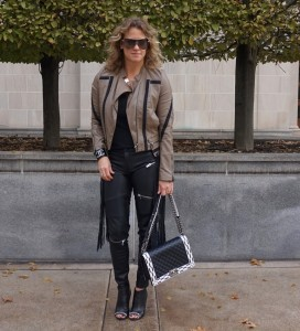 Zara faux leather zip pants, Chanel boy bag