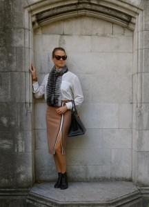 Zara striped pencil skirt, Hermes 35 birkin ardennes