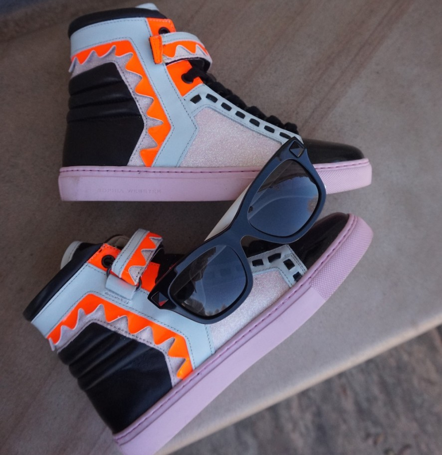 Sophia Webster Riko high top sneakers, Valentino Rockstud sunglasses
