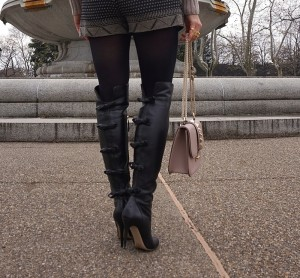 Valentino bow back over the knee boots, Valentino glam lock bag