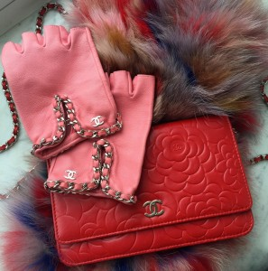 Chanel camellia wallet on a chain, Chanel fingerless gloves