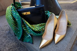 Hermes 28 black kelly, Louboutin gold so kate pumps, Hermes magic kelly giant silk scarf
