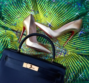 Hermes 28 kelly, Hermes magic kelly giant silk, louboutin so kate gold pumps