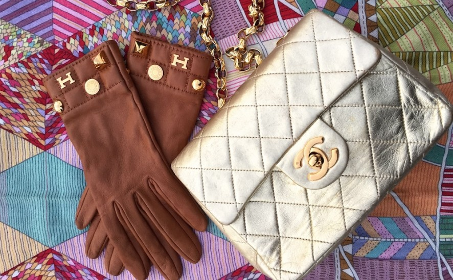 Hermes gloves and chanel gold vintage mini flap