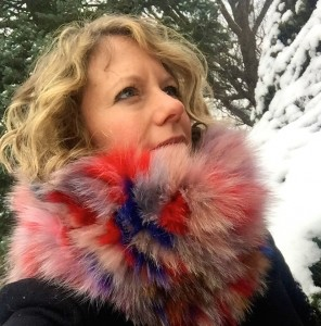 Jocelyn dyed genuine fox fur cowl scarf