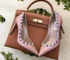 Valentino Rockstud pumps, Hermes gold 32cm kelly bag