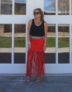 H&M coachella red skirt with fringe