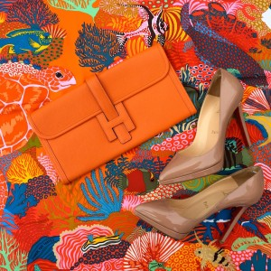 Hermes orange jige, UNder the waves scarf