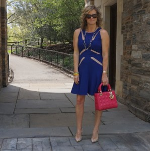BCBG Blue mesh dress