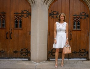 BCBG white A line dress