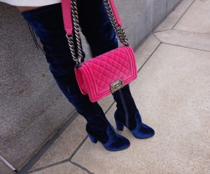 Chanel pink velvet small boy bag