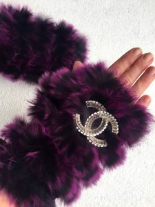 Jocelyn rabbit fur fingerless gloves
