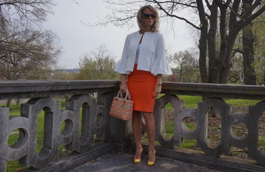 BCBG tangerine orange power skirt