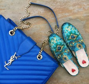 Gucci princetown loafers, YSL blue tote
