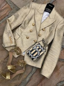 Balmain gold double breasted blazer