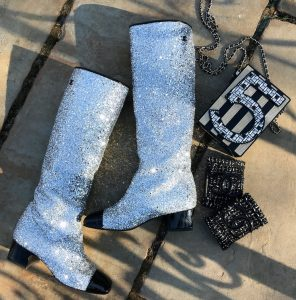 Chanel glittered fabric and patent boots