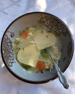 Chicken soup with heart noodles