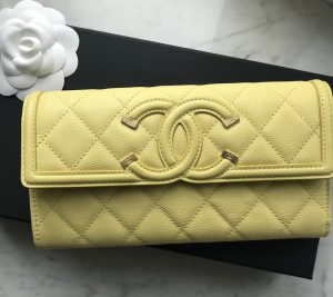 Chanel yellow grained calfskin wallet