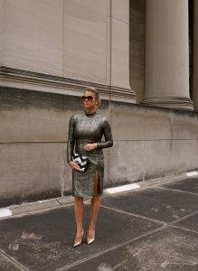 Club L metallic bodycon dress with thigh split