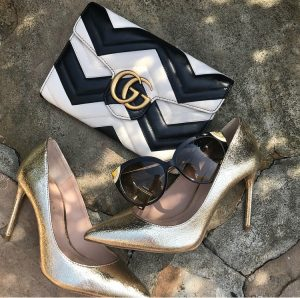 Gucci mormont chain bag, Zara gold high heel court shoes, Louis Vuitton amber sunglasses