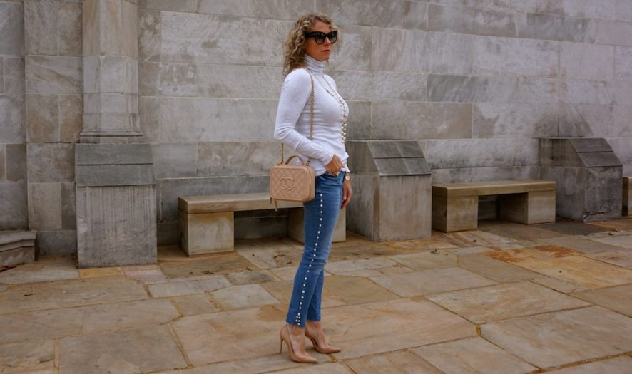 Zara jeans with pearls