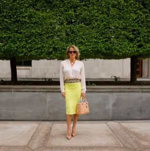 BCBG neon bandage skirt, Louboutin nude patent pigalle plato