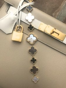 Hermes craie and trench SO kelly, van cleef alhambra watch