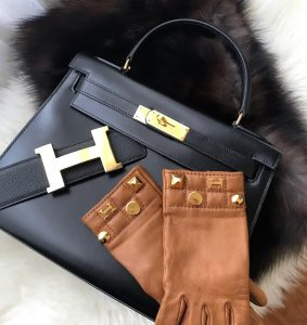 Hermes 28cm black box sellier kelly, Hermes gold sellier gloves
