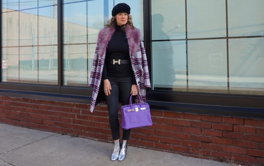 Forever 21 pink plaid coat with fur collar