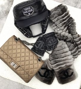 Chanel tweed fingerless gloves, Chanel bronze reissue 225