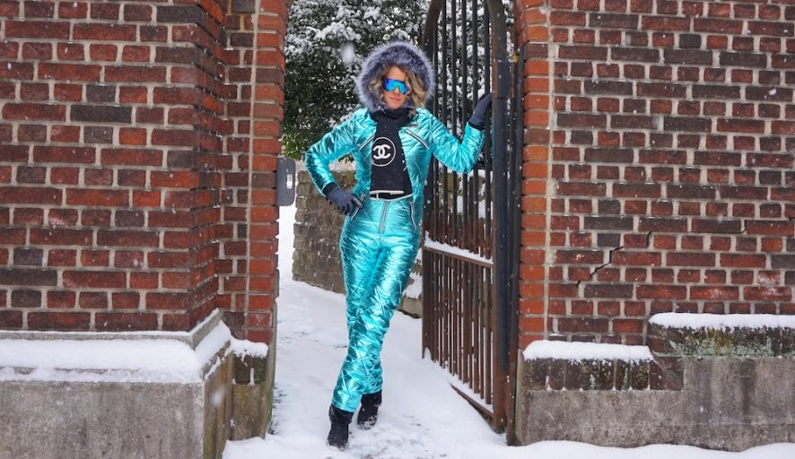 metallic blue snow suit