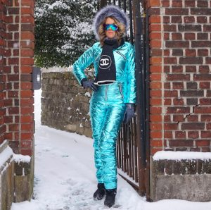 womens metallic one piece snow suit