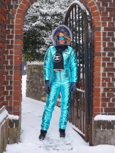 womens metallic snow suit
