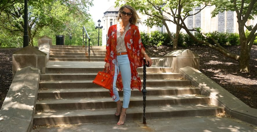 Red floral long cardigan