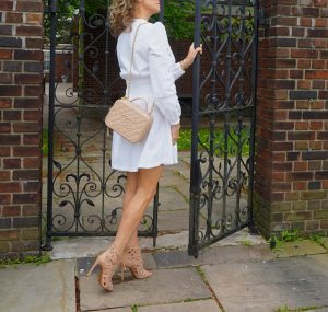 maje white lace fit and flare dress