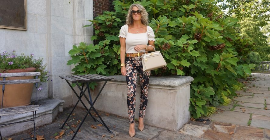 H&M floral ankle length slacks
