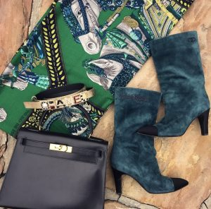 Chanel Gabrielle green suede boots