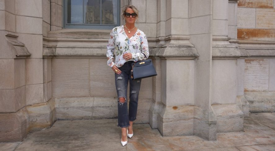 Zara grey distressed boyfriend jeans