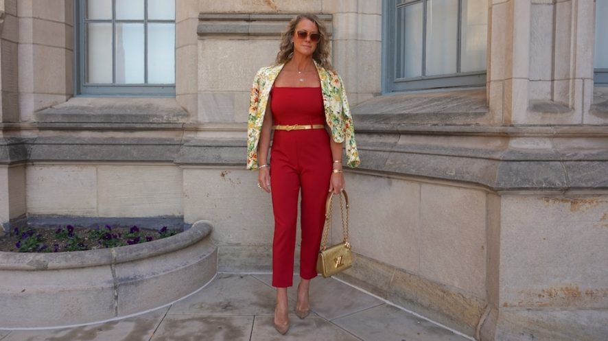 ASOS strappy red jumpsuit