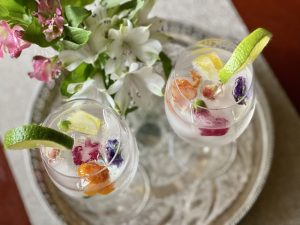 Floral ice cube drink
